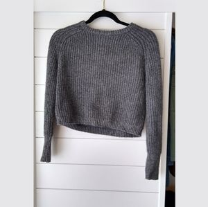 American Apparel cropped gray knitted sweater.